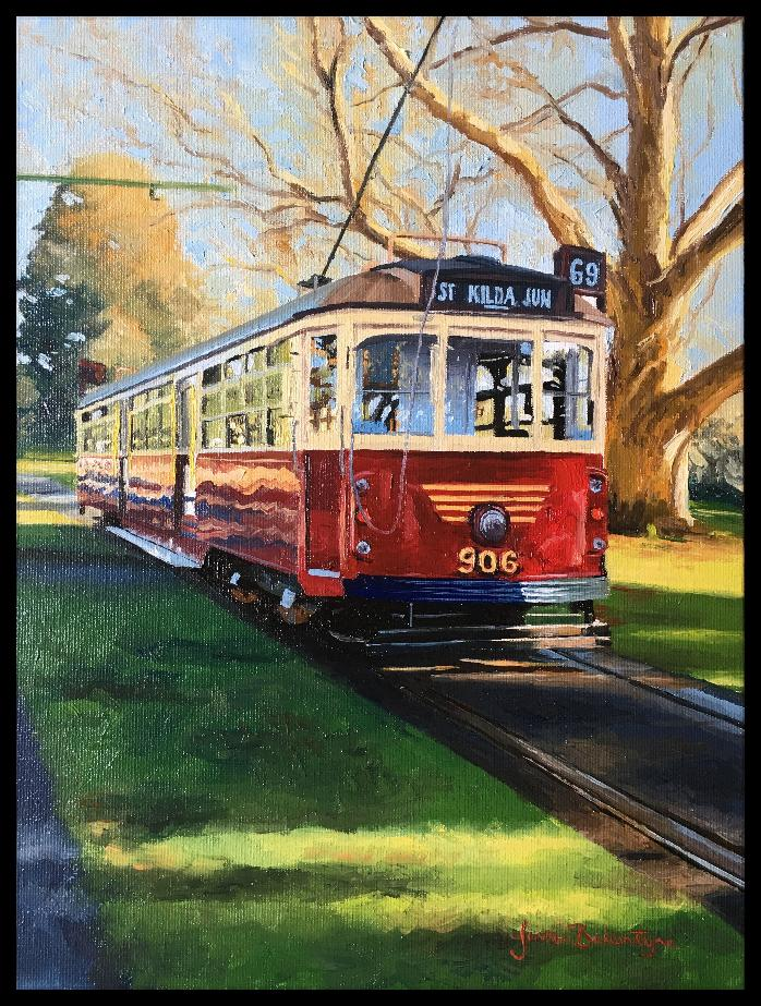 122 - Red Tram, canvas board painted in oils, size 23/30cm